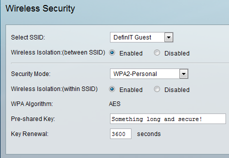 Configuring a Guest wireless network with restricted access