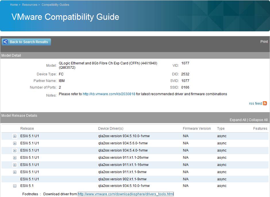 Updating ESXi Fibre Channel HBA Drivers via VMware Update