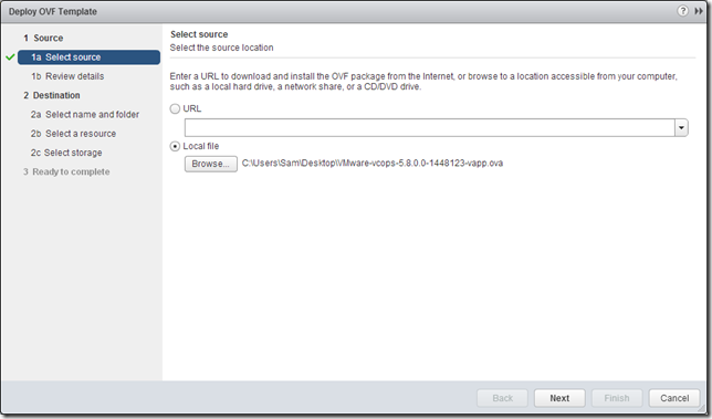 vCOps 5.8 - Deploy OVF - Select source