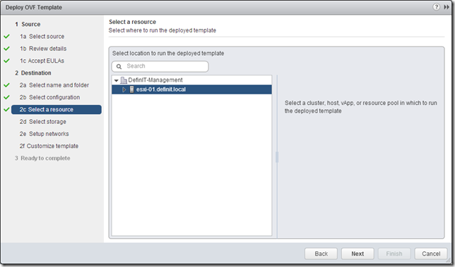 vCOps 5.8 - Deploy OVF - Select resource