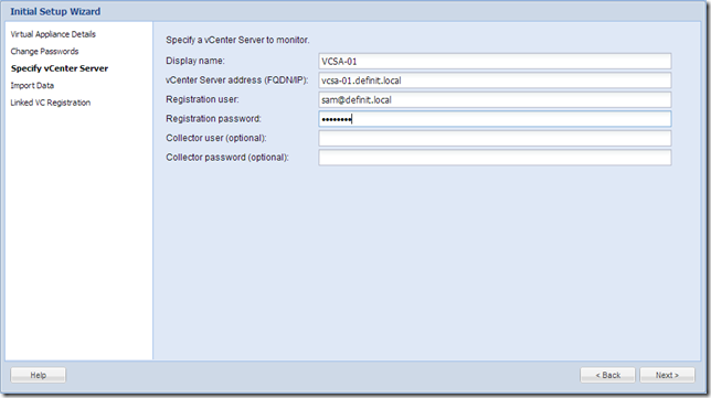 vCOps 5.8 - Initial configuration - Specify vCenter Server