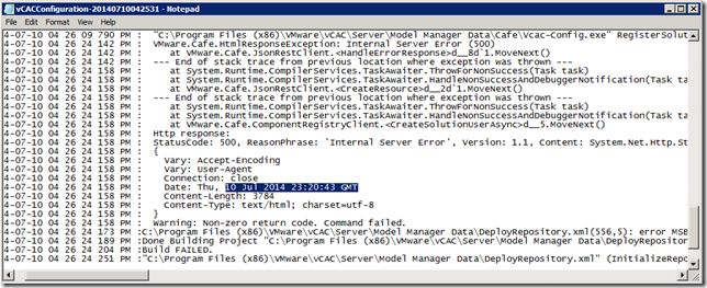 HTTP Error 500 installing vCAC IaaS Model Manager Data · DefinIT