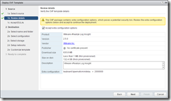 vRealize Log Insight - Accept the OVF additional configuration items