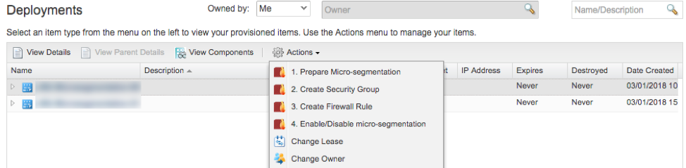 Example Actions configured on a Deployment