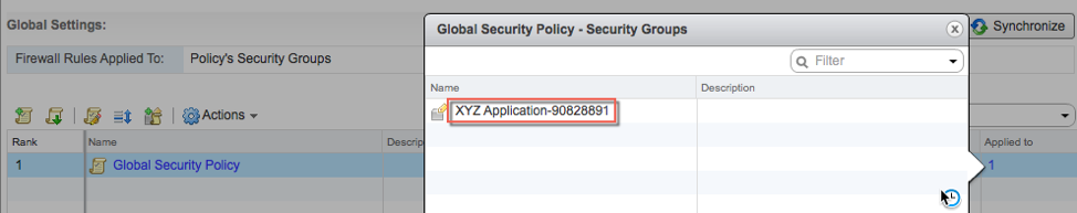 Deployment Security Group added to the selected Security Policy