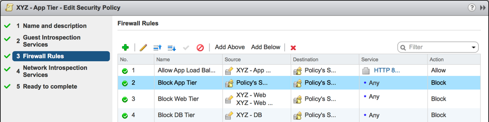 XYZ - App Tier Security Policy - Firewall Rules