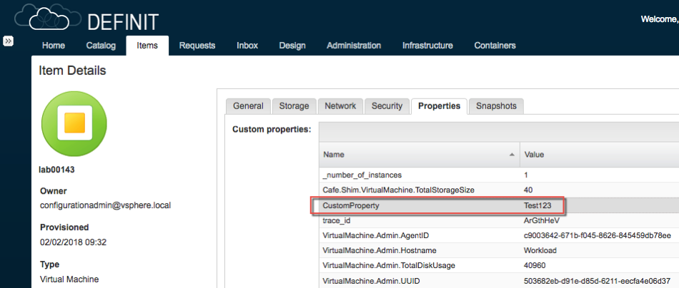 vRA VM Custom Property