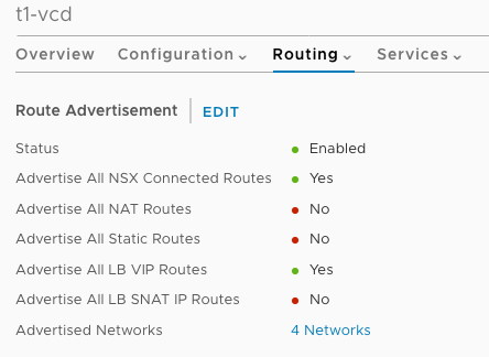 Tier 1 vCloud Director advertised routes